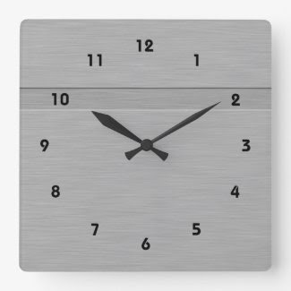 Faux Brushed Metal with Groove Square Wallclocks
