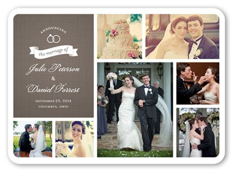 wedding rings collage  wedding announcement cards