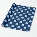 Sky Blue Polka Dots on Navy Wrapping Paper