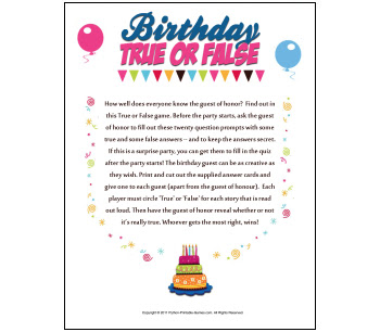 Toddler Birthday Party Games On 40th Humor True Or False Game