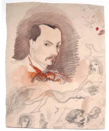 Autorretrato de Baudelaire(1844-1847).