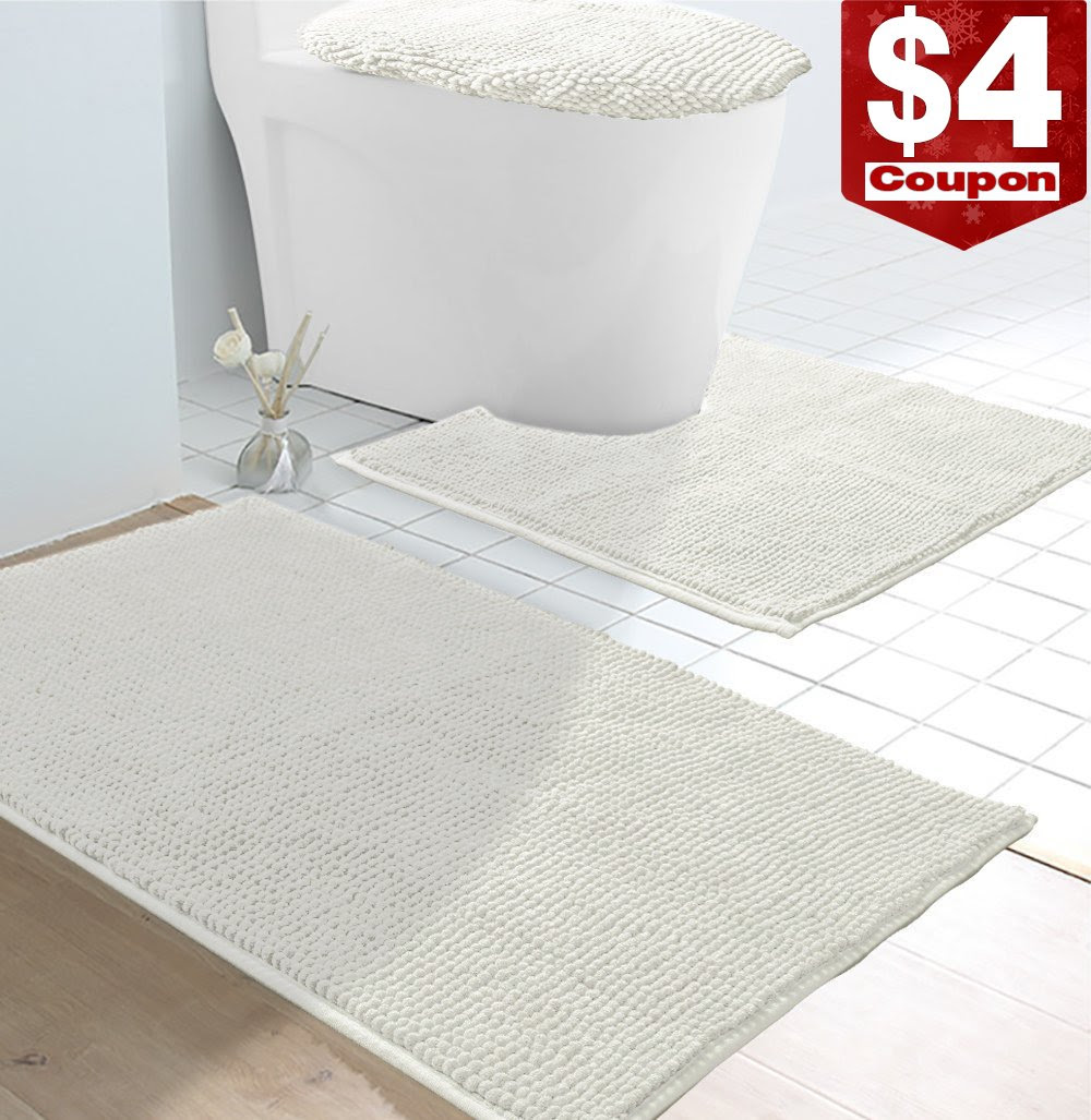 Vdomus Soft Toilet Rug 3 Pieces Set Non Slip Bathroom Rugs U