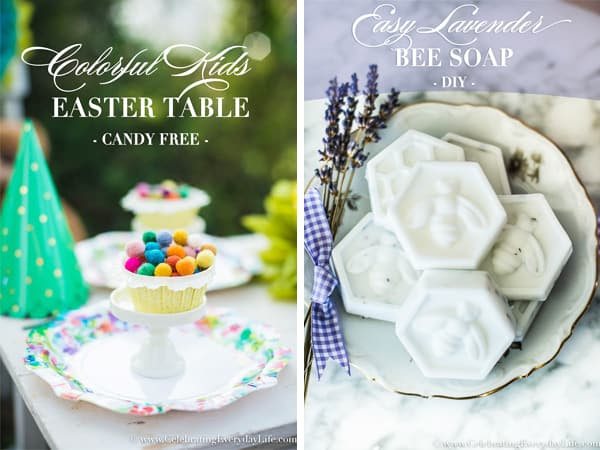 Colorful Kids Easter Table plus Easy DIY Bee Soap