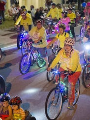 SWFL Critical Mass bike riders  gather the first Friday
