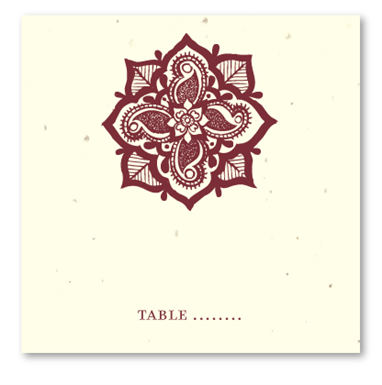 Henna Flower Table Cards