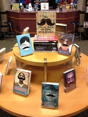 Library Displays: We moustache you to check out these great books! HA ha! LOVE IT!