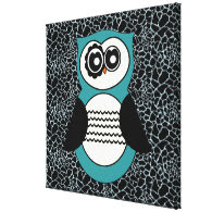 Retro Aqua Owl with Animal Print Stretched Canvas Print