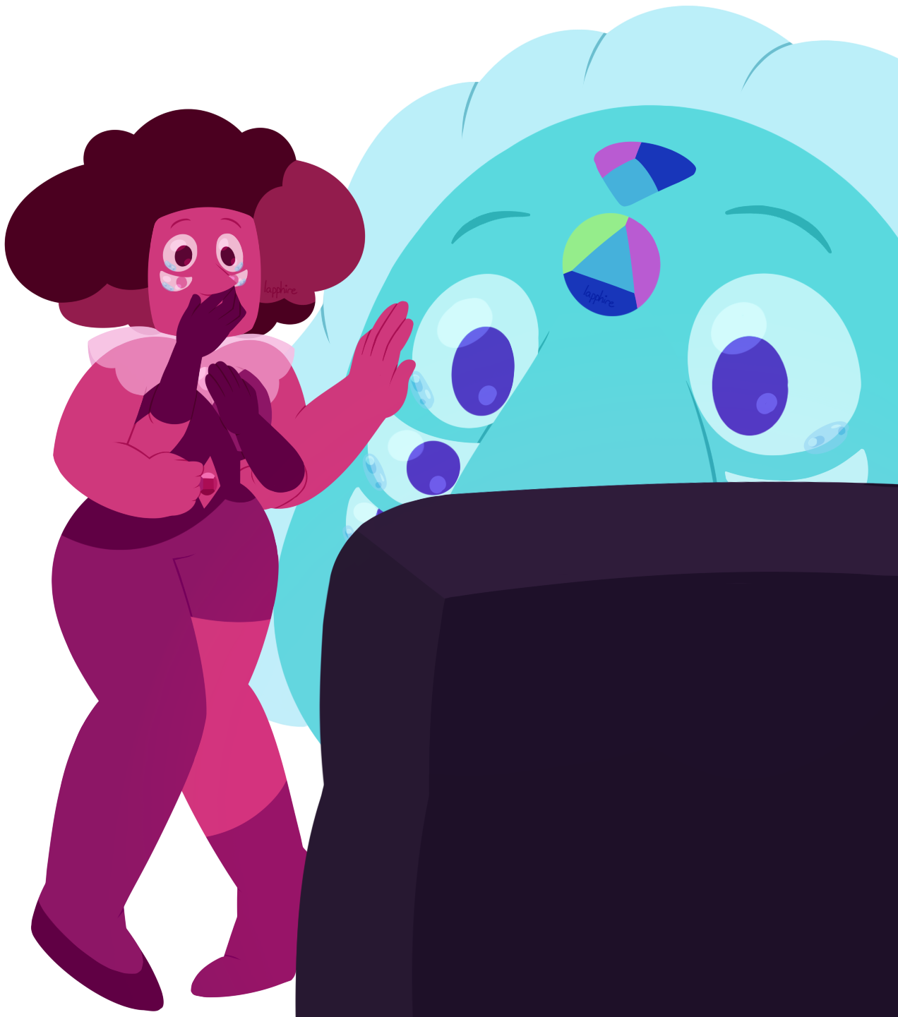 garnet must be a legend to the off-colors. a fusion that stood up against the diamonds, escaped being shattered, and was a major contributor to the rebellion imagine them meeting their idol