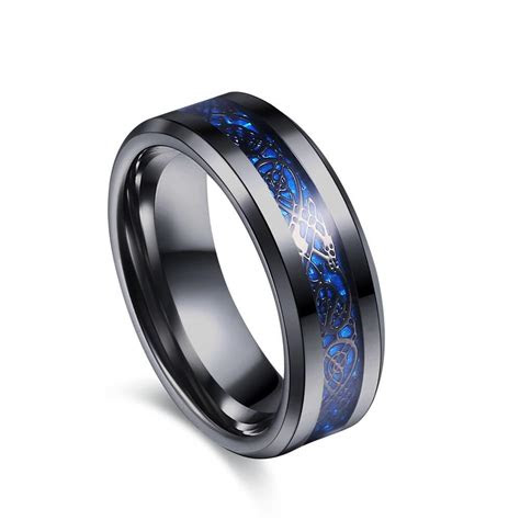 blue groove black tungsten carbide dragon ring men