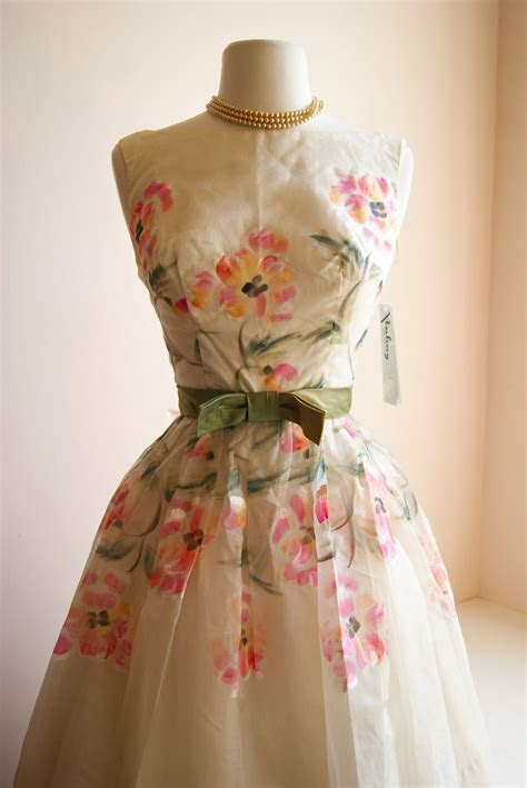 vintage dress / 1960s hand painted floral organza dress at