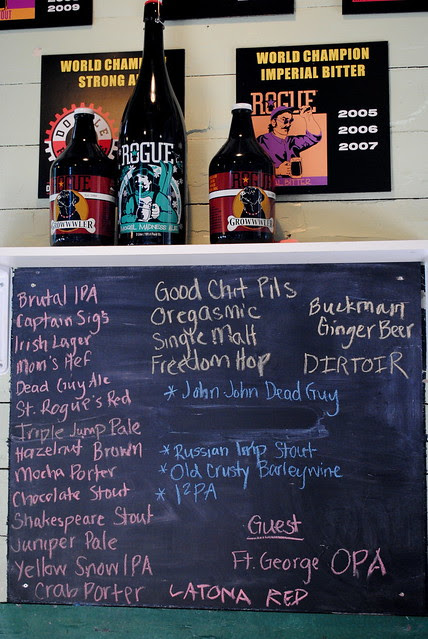 Taplist at Rogue Brewery - Astoria, Oregon