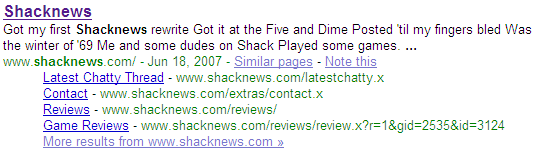 My song as the description for Shacknews on Google.