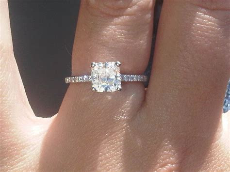 My Engagement Ring :) Cushion Cut with thin diamond band