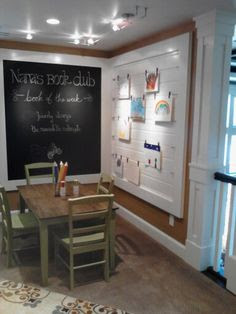 I like the blackboard and space for hanging art, plus I'd add a bunch of storage for tons of art supplies.