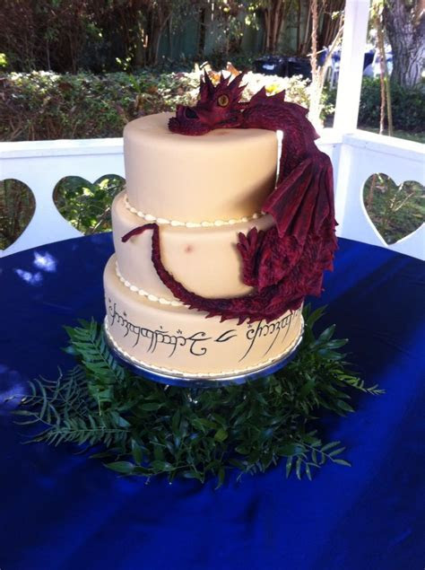 Lord of the rings wedding cake with elvish script and a