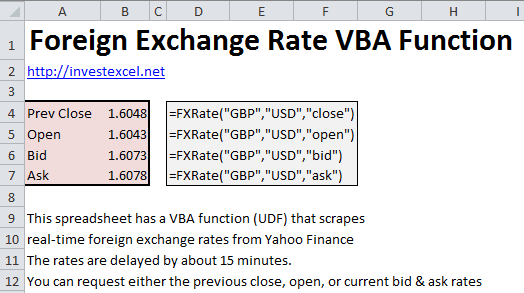 Foreign Exchange Rate Function In Excel -