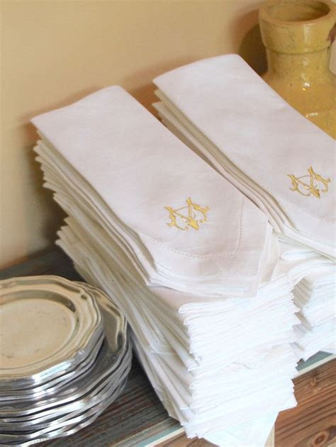 Bulk Monogrammed Wedding Napkins, Set of 50, Embroidered