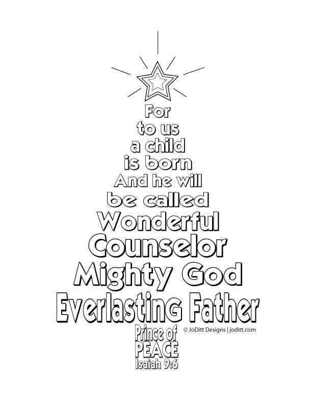 Isaiah 9:6 Christmas tree coloring page - JoDitt Designs