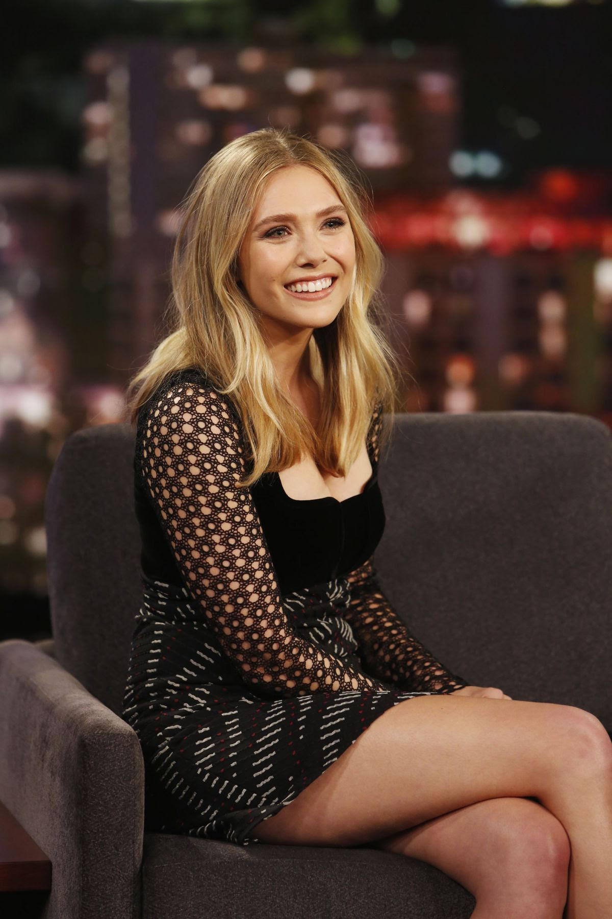 ELIZABETH OLSEN at Jimmy Kimmel Live in Los Angeles 03/21/2016