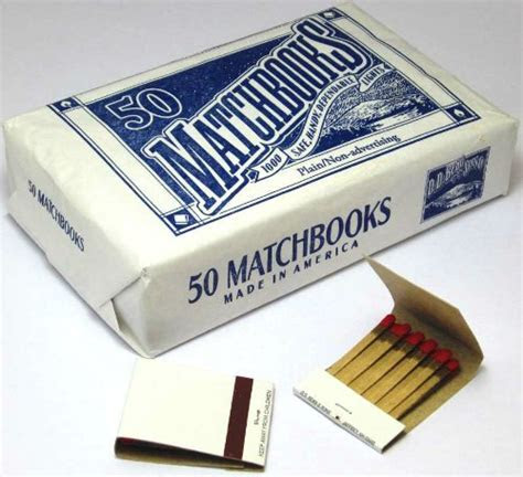 D.D. Bean & Sons 50 Plain White Matches Matchbooks for