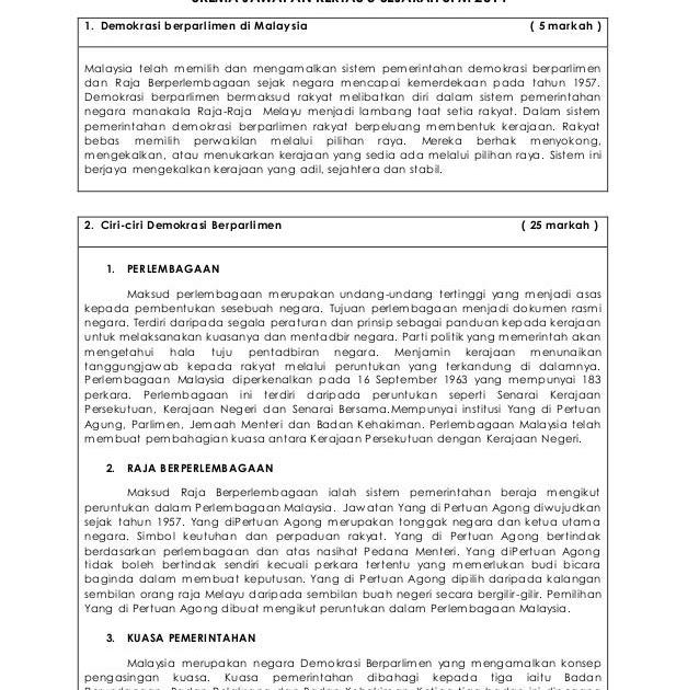 Contoh Jawapan Sejarah Kertas 3 Kesedaran Pembinaan Negara
