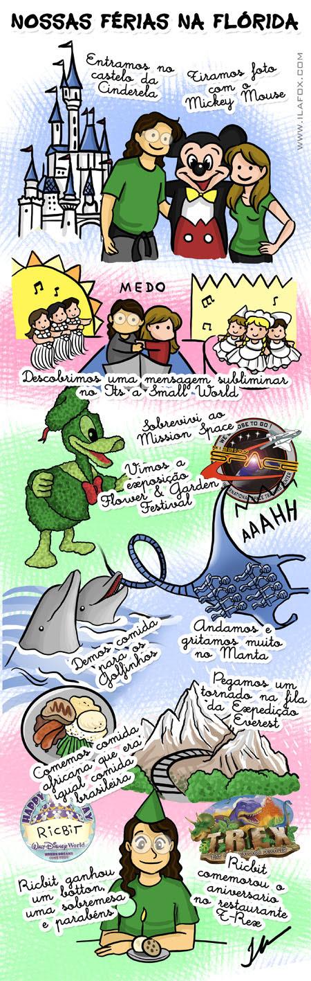 Férias Flórida, Disney, Magic Kingdom, Epcot, Animal Kingdom, Sea World, Megacon, Disney em Março, Orlando em Março, ilustração by ila fox
