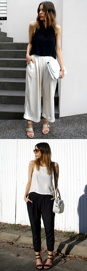 KAITLYN MODERN LEGACY BLOGGER LOOKS BLACK AND WHITE MINIMAL LOOKS INSPIRATION ROUND SUNGLASSES WIDE LEG WHITE PANTS SANDALS JOGGER TRACK PANTS TANK TOPS TUCKED CROPPED WHITE BAGS CLUTCH SPRING SUMMER 2012 OMBRE HAIR WAVY