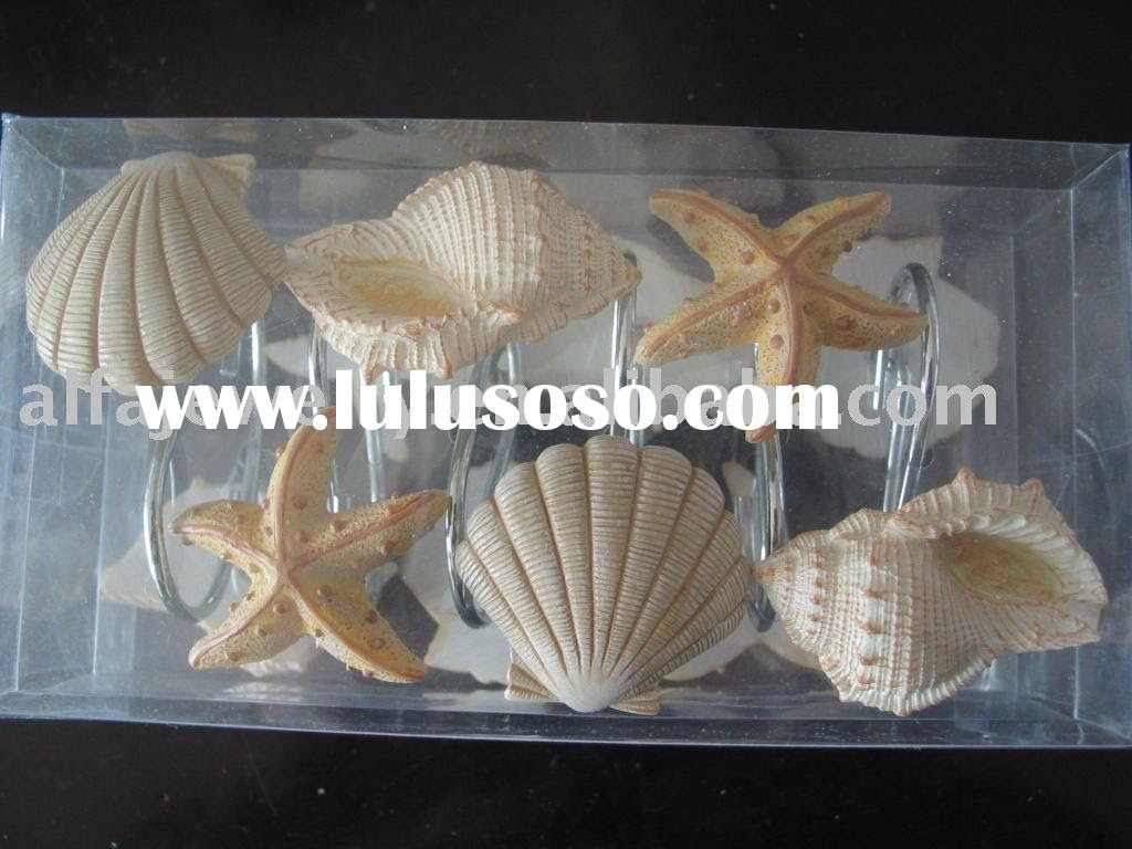 Seashell Shower Curtain Hook Bath Accessories Set