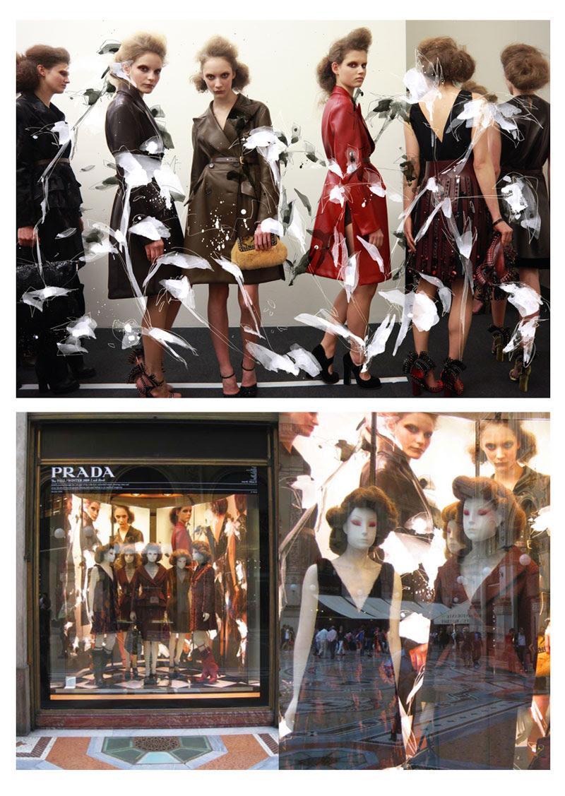 Lok Prada lookbook window Milan