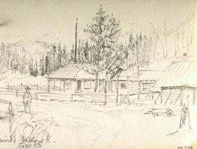 Sketch of Salt Spring Island Cabin [probably Jonathan Begg's house ...