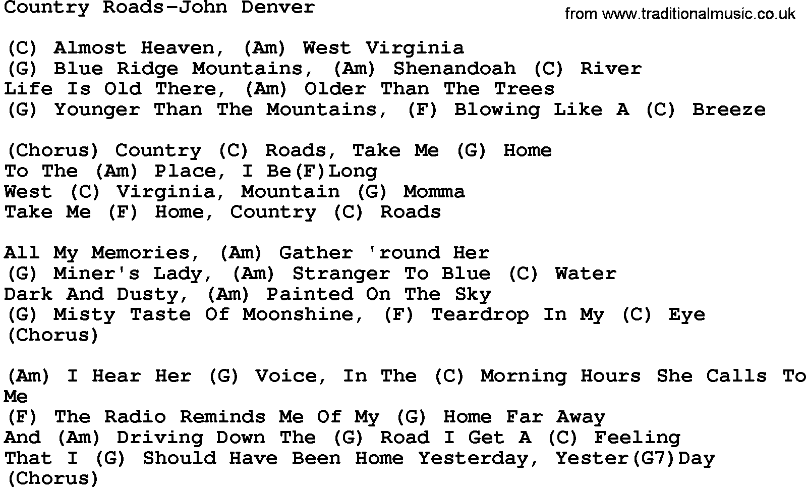 Country Musiccountry Roads John Denver Lyrics And Chords