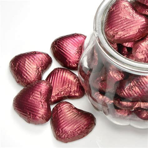 Burgundy Foil Wrapped Chocolate Hearts Wedding at Favour This