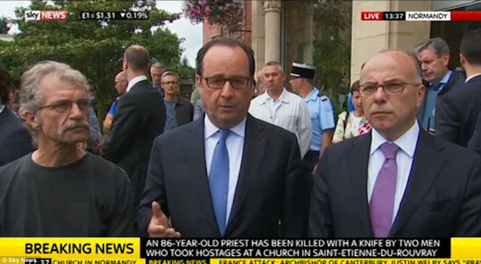 French President Francois Hollande, visiting the scene of the attack, condemned the 'vile terrorist attack' which he said had been carried out by two men who 'claimed to be from Daesh' and insisted France needed to fight the war against ISIS 'by all means'