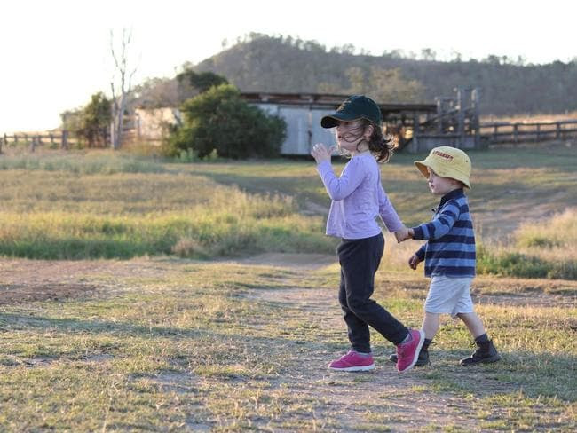 """Ben, 3, and Alex, 5, on their property """"Hillview"""". Picture: Philippa Rea"""