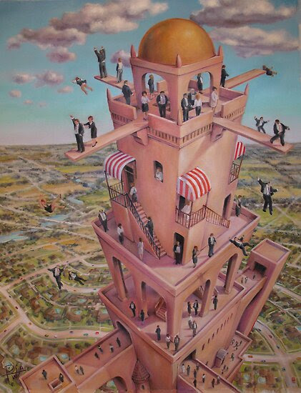 Oil Paintings: Tower of Babbit by HD Potwin