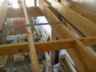 Adding Barn Loft Floor Joist Cross Pieces Using a Clamp