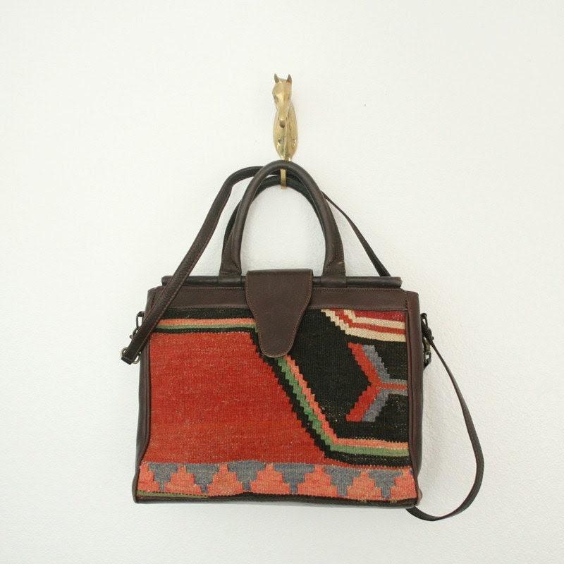 Vintage Wool and Leather Handbag