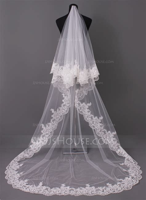 One tier Lace Applique Edge Cathedral Bridal Veils With