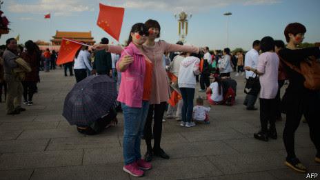 国庆期间北京天安门广场上的游人