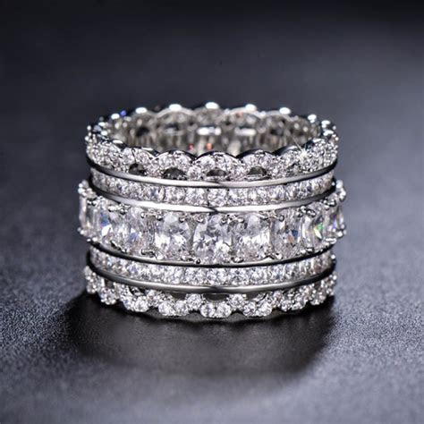 Unique Wedding Band, Art Deco Cubic Zirconia Ring