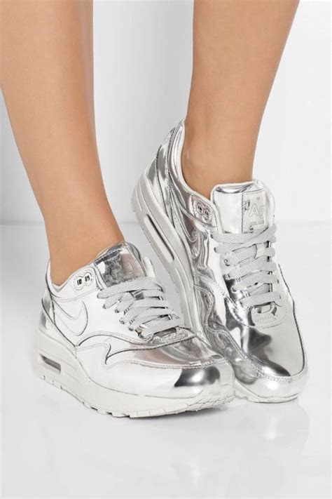 shiny silver nike air max sneakers pictures