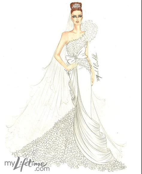Kate Middleton wedding dress sketch by Michael Costello