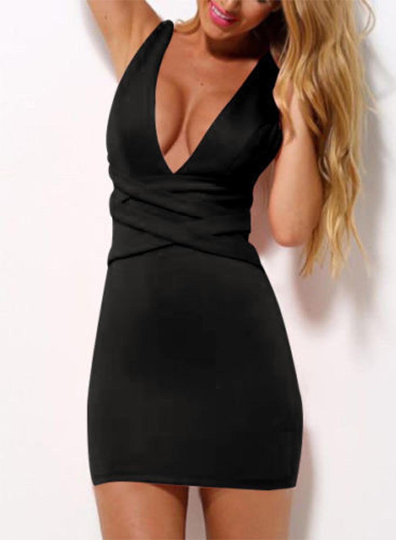 V neck plaid mini bodycon dress klein