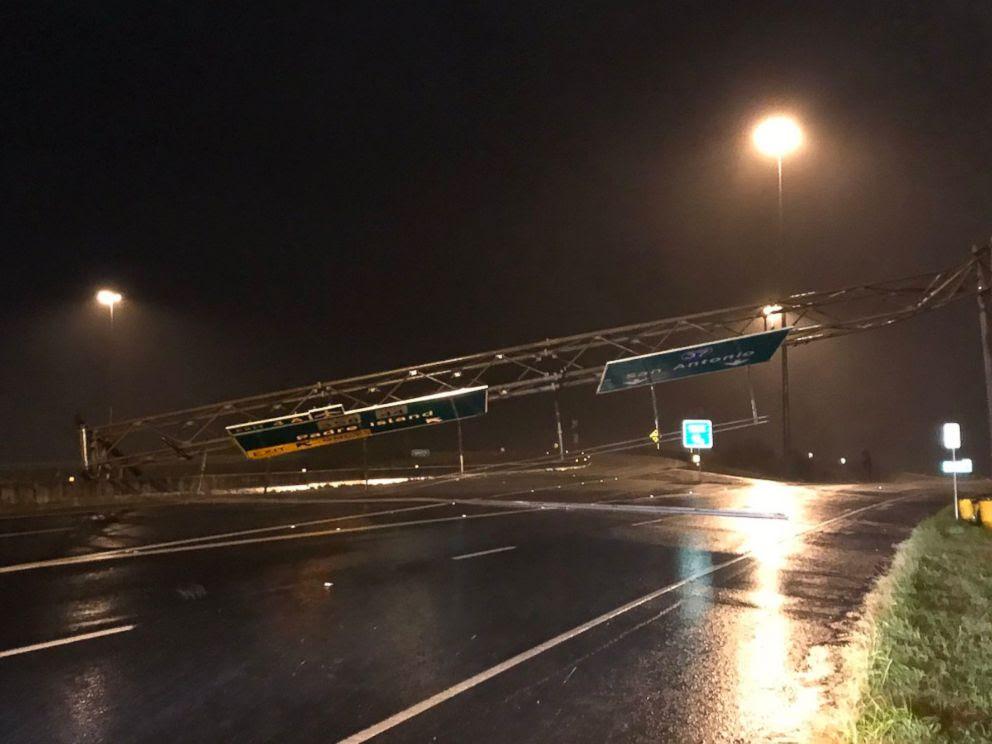 PHOTO: Road signs near Corpus Christi, Texas, on August 25, 2017, show the impact of Hurricane Harvey.