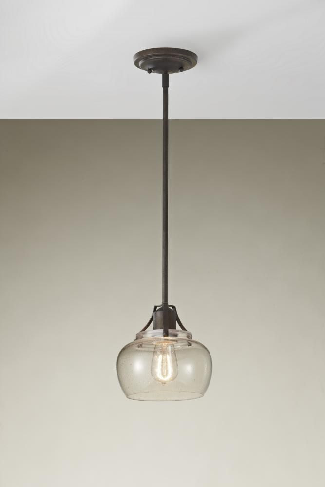 One Light Rust Down Mini Pendant : SKU 7YAMK | Richardson Lighting