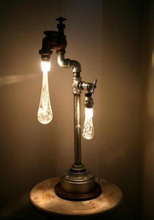 Lamps In Industrial And Retro Style Made Of Recycled Plumbing ...