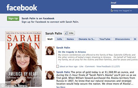 Beyond politics: Today Mrs Palin used her Facebook page to post her 'sincere condolences' to the victims of the shooting