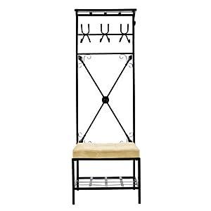 Amazon.com: SEI Black Metal Entryway Storage Bench with Coat Rack ...