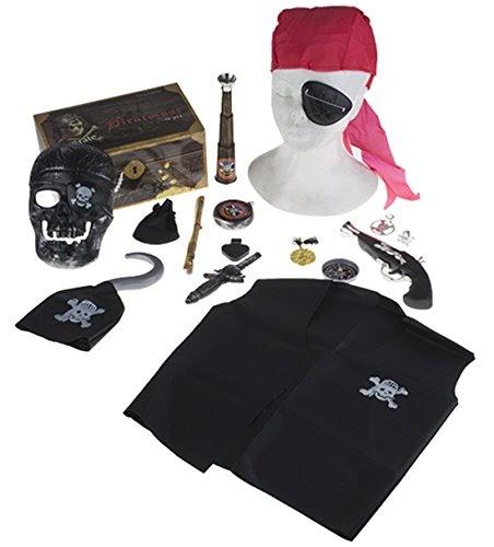 Deluxe-Set 1 Piraten-Kostüm Herren Braun Gehrock Hose Hut Gamaschen Augenklappe