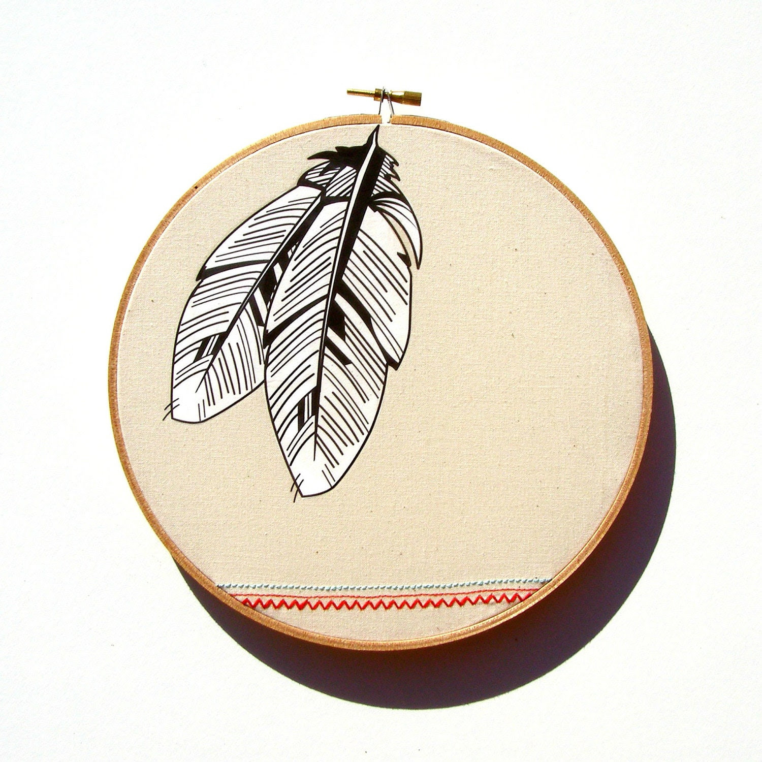 Two Feathers Hoop Art - print of original illustration on fabric with native / tribal inspired stitching detail